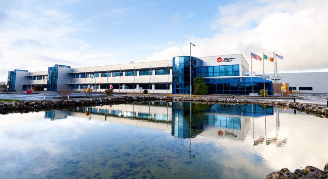 The Beckman Coulter facility against a bright blue sky in Tulla, Co Clare.
