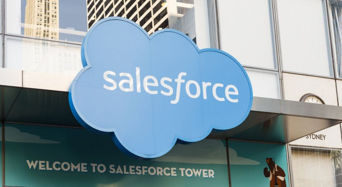 Signage on the Salesforce Tower in New York City.