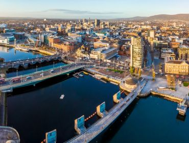 Aerial view of Belfast city in Northern Ireland.