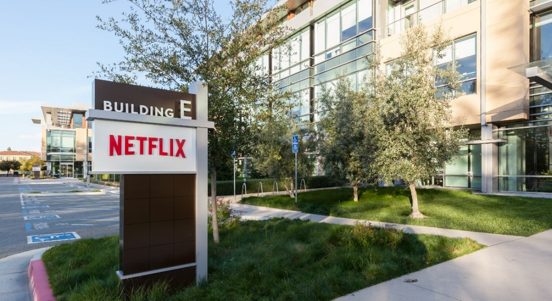 Outdoor sign for Netflix at its headquarters in California.