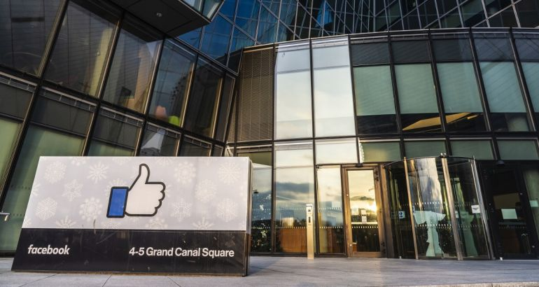 Logo of Facebook headquarters, office building in Grand Canal Square, Dublin.