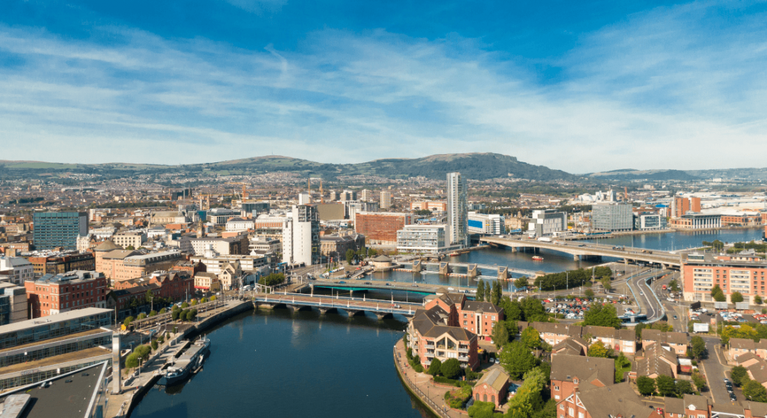 An aerial view of the river Lagan in Belfast city centre.