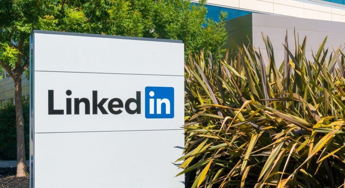 LinkedIn corporate headquarters sign and logo.