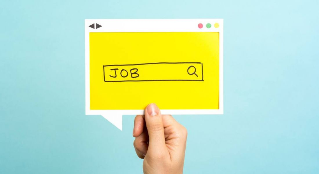 Jobs search concept on blue background.