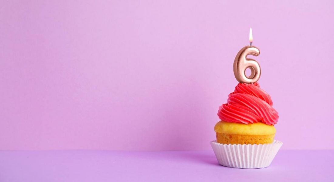 Birthday cupcake with number six candle, against a violet background.