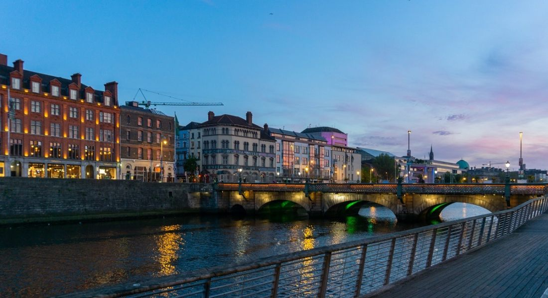 Dublin and the Liffey river at dusk.