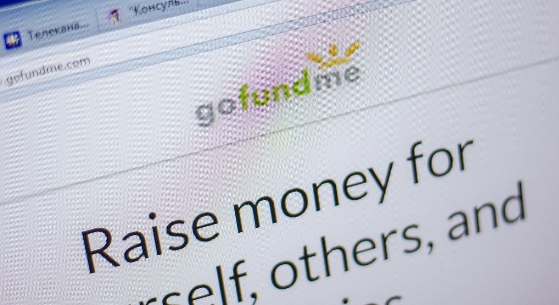 Homepage of the GoFundMe website.