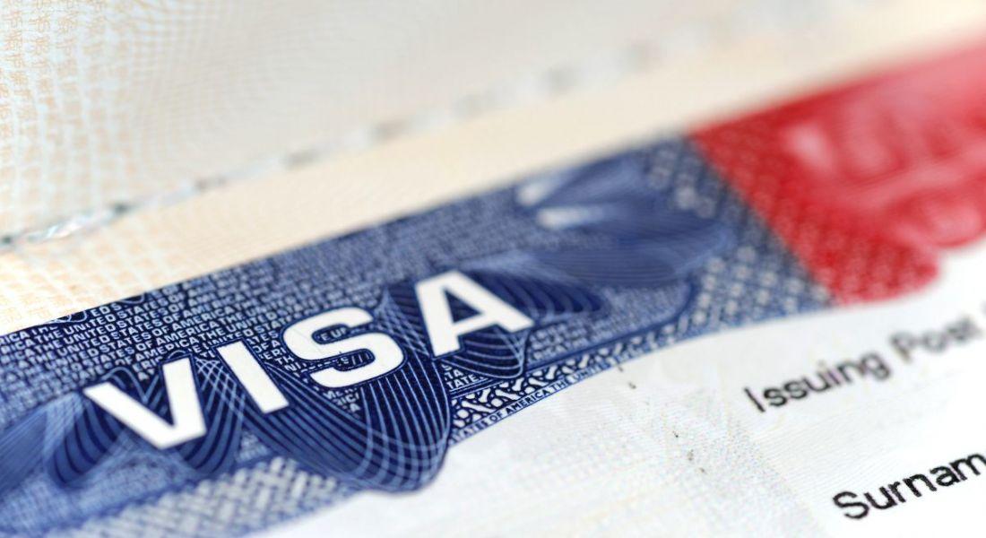 Close-up of US visa on passport.