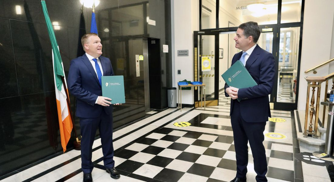 Minister Paschal Donohoe and Minister Michael McGrath at Government Buildings for the Budget 2021 announcement.
