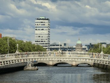 The Liffey river in Dublin, with bridges and buildings in the background.