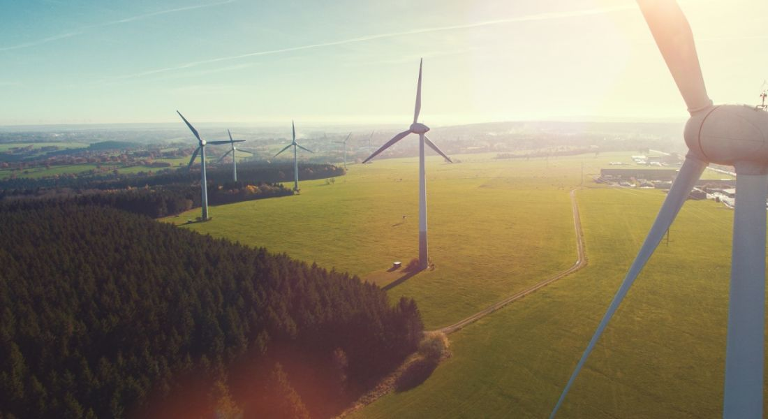 Wind turbines and agricultural fields on a sunny day.