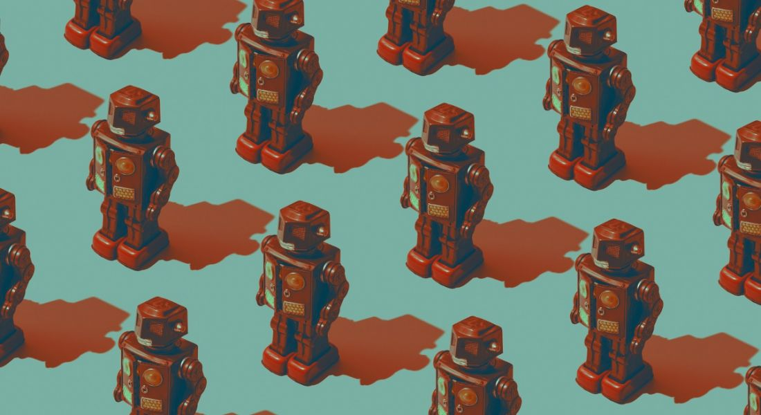 Artwork of red robot toys on a blue background, symbolising the future of work and the Work 2035 report.