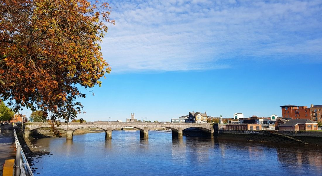 River Shannon in Limerick city, Ireland on a sunny day.