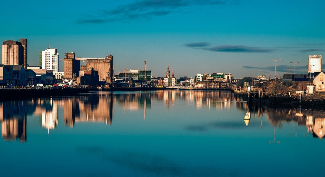 Panoramic view of Cork city centre in the early hours of the morning.