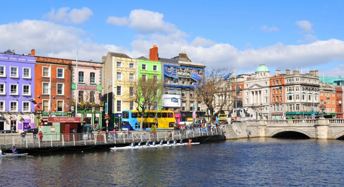 Colourful buildings along the banks of the River Liffey in Dublin city centre, Ireland.