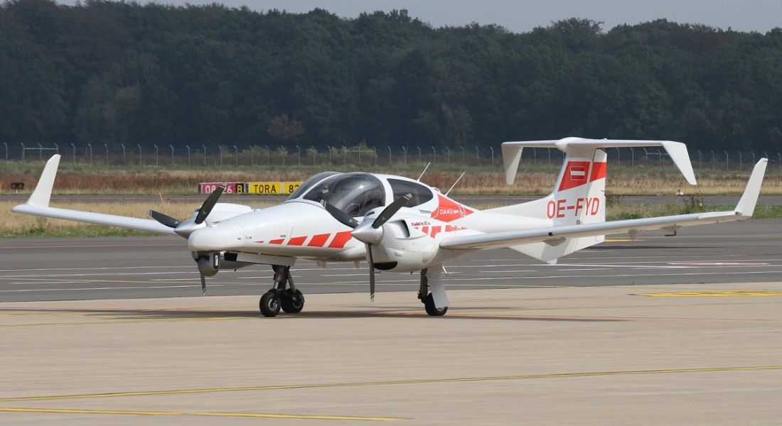 The DA42 multi-purpose aircraft purchased by Green Rebel Marine is on a runway at Cork Airport.