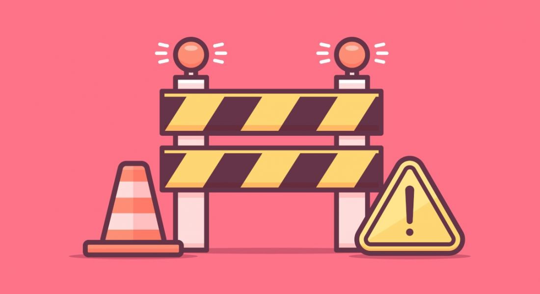 A graphic image of a construction barrier, a traffic cone, and a warning sign.