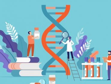 Illustration of life sciences workers collaborating around a DNA double helix.