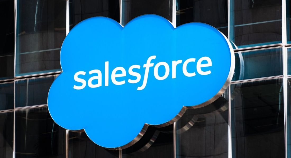 Salesforce sign on its headquarters in San Francisco.
