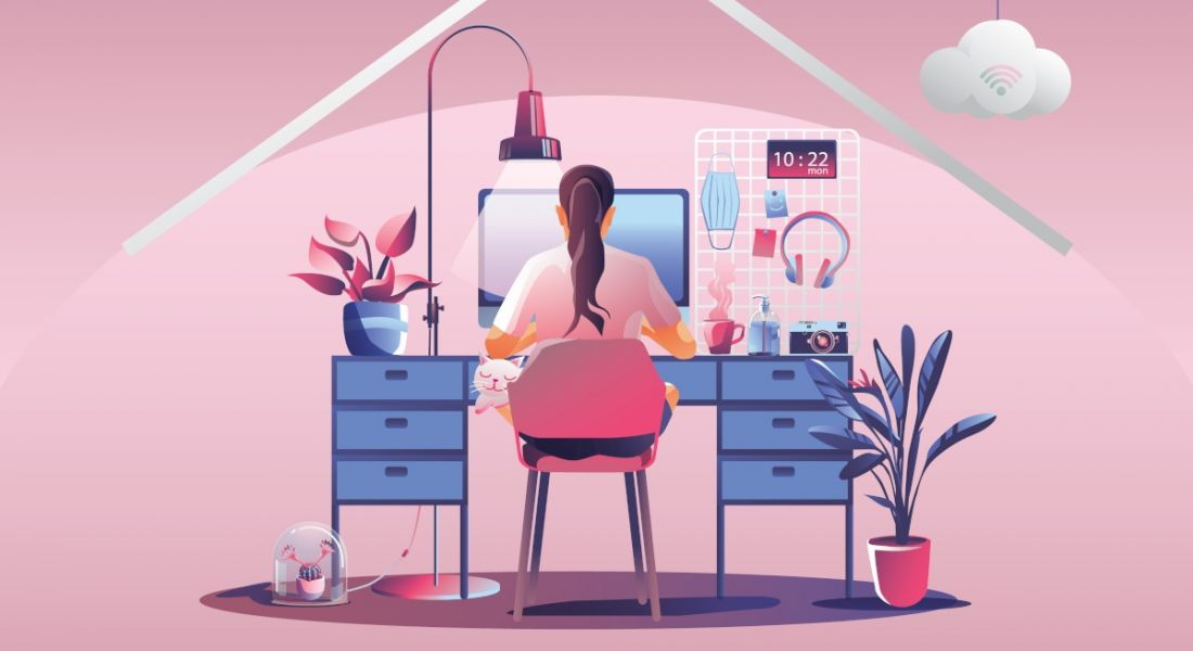 Illustration of a woman working at her desk, symbolising one year of working from home.