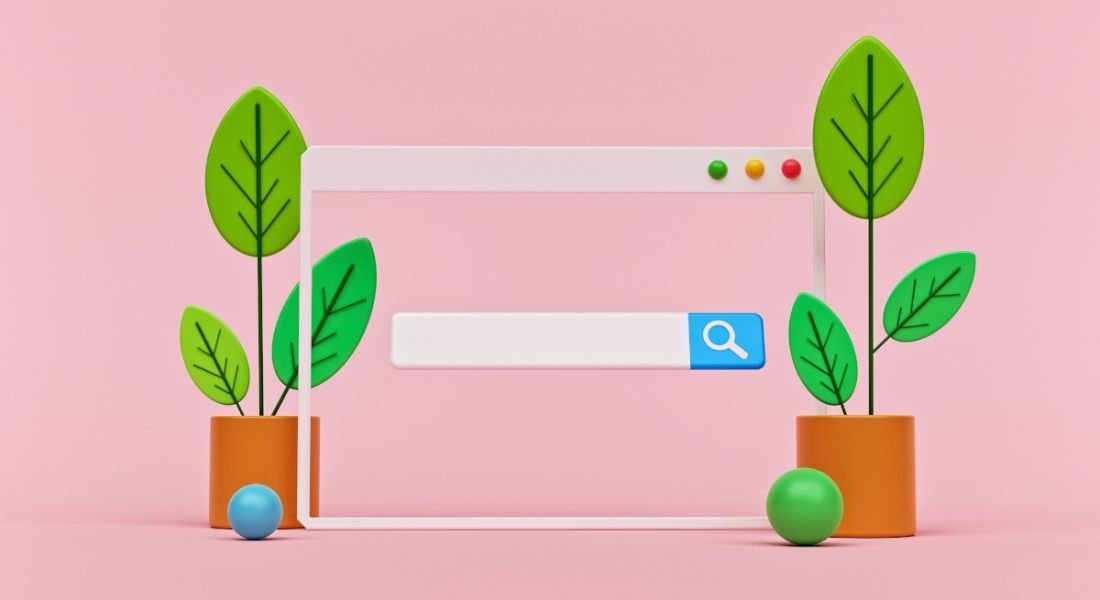 Illustration of a web browser search bar that you would use to look for a new job online.