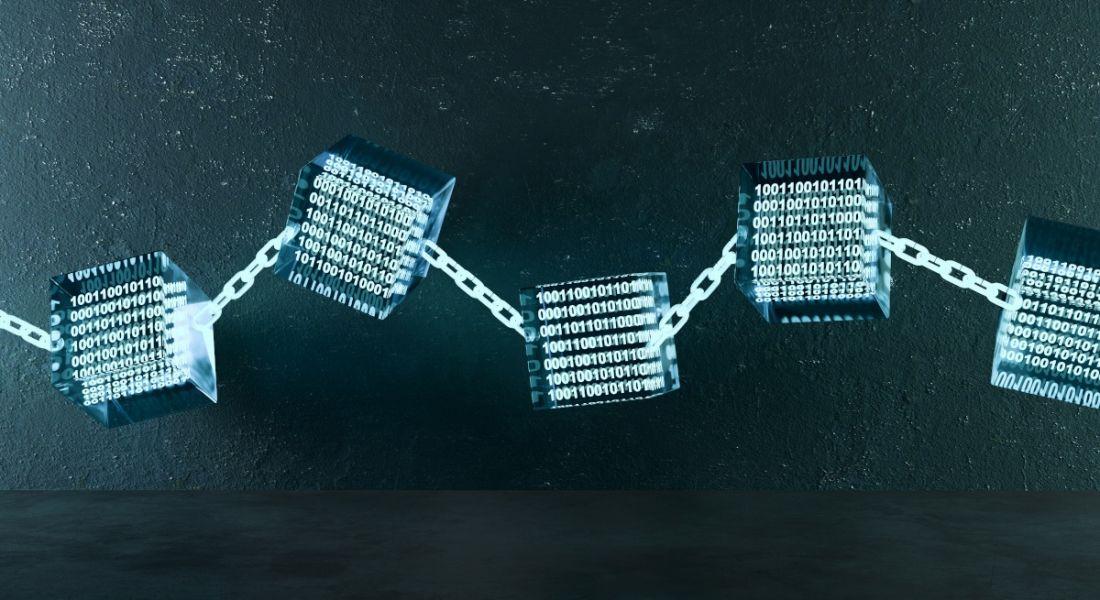 3D illustration of a blockchain link.
