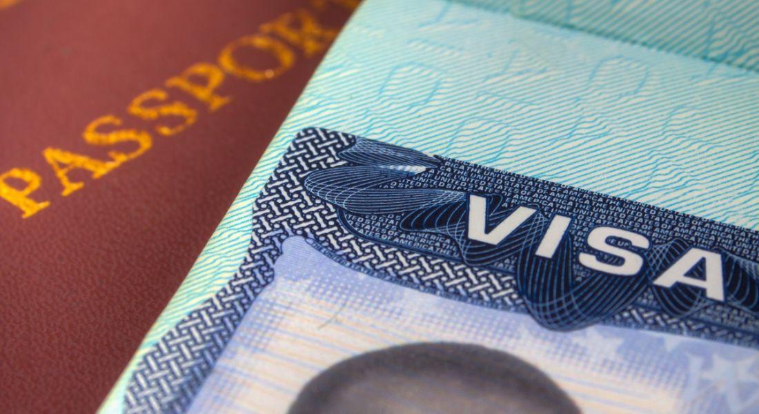 Close-up of a passport and US visa.