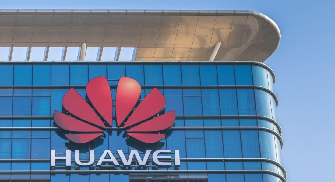 Huawei logo on its main office building in Dongguan, China.