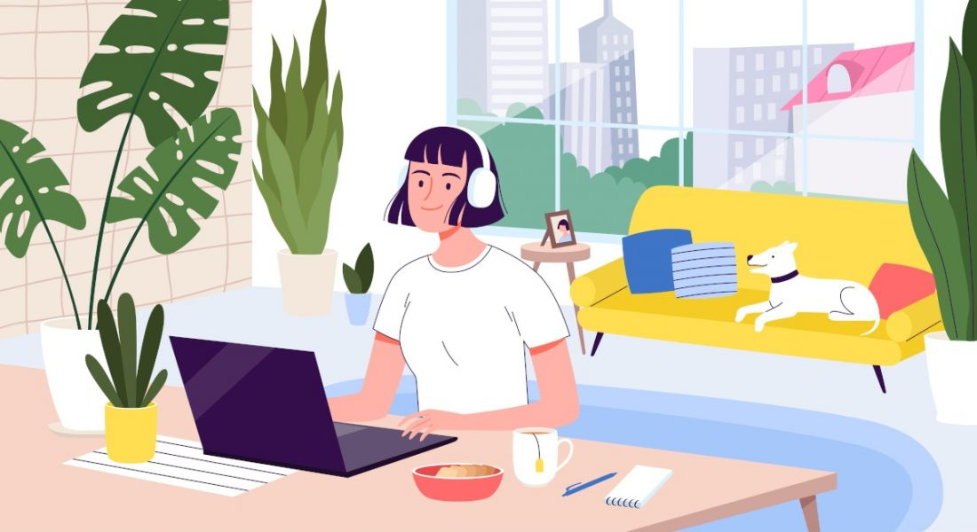 A cartoon graphic of a woman sitting at a desk at home, working on a laptop while a dog sits on a couch in the background.