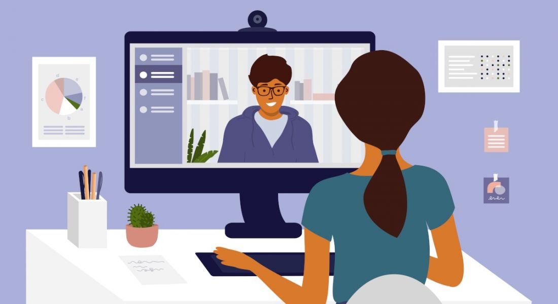 Illustration of a two people talking during a video interview.