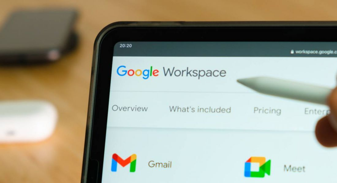 Close-up of Google Workspace open on a laptop.