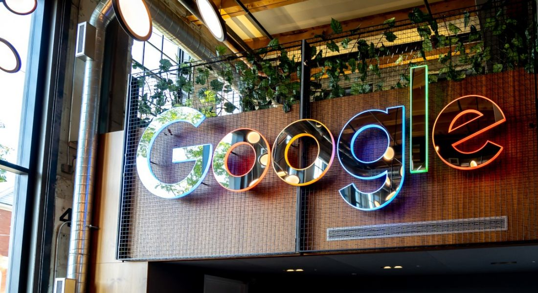 A colourful Google sign in one of its offices.