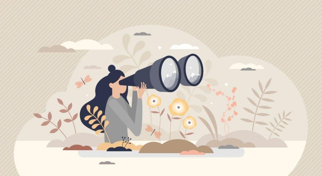 Illustration of a woman using binoculars.