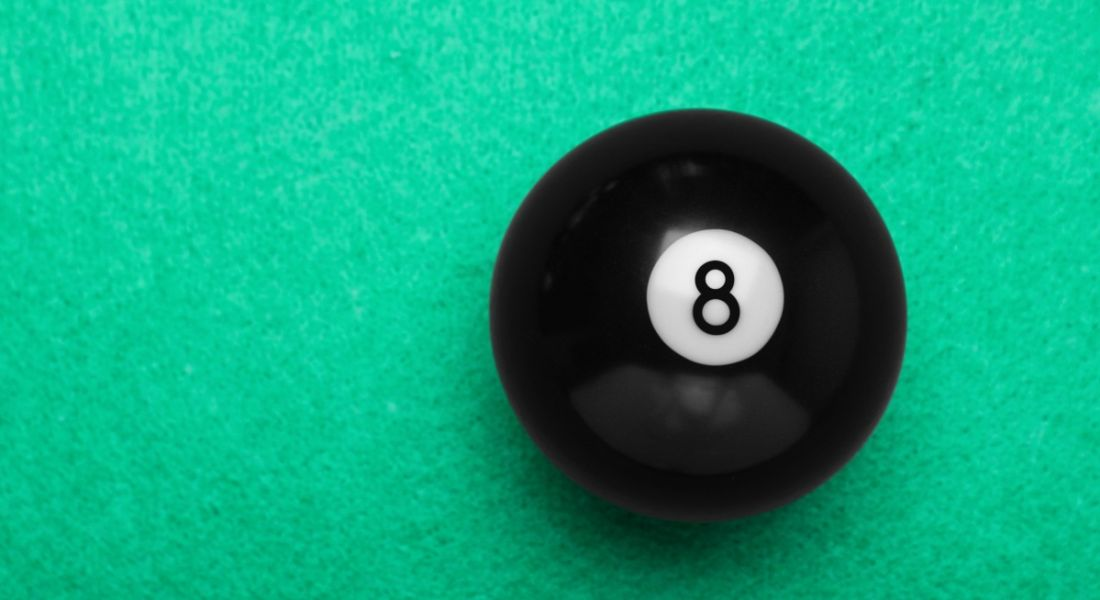 A black eight ball on snooker table, representing the number of CV questions in this article.