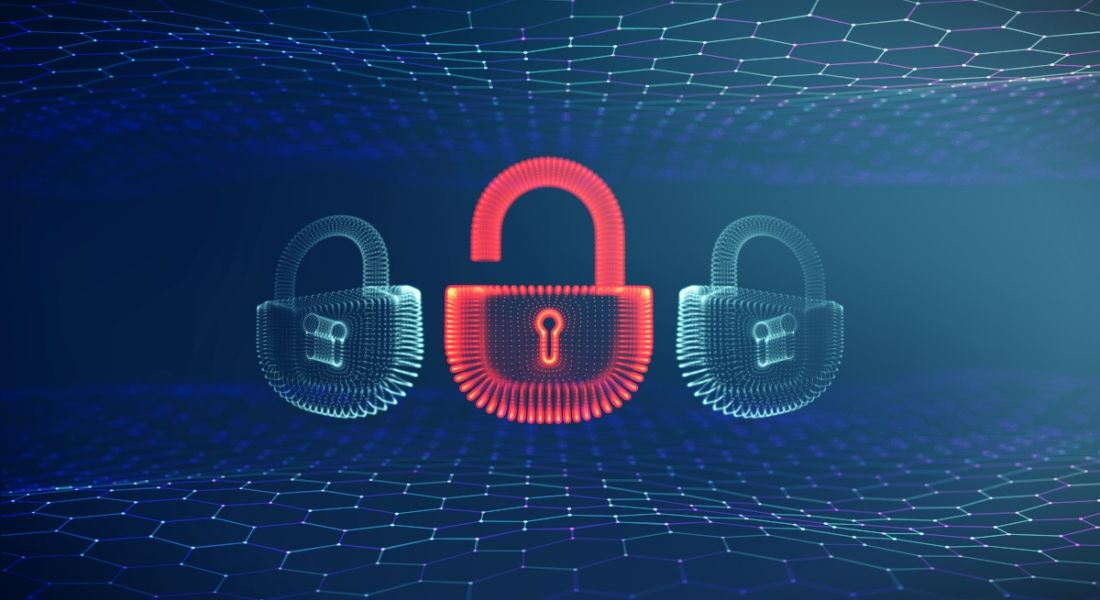 Illustration of padlocks floating in a digital matrix. One lock is lit up in red as it is open and unsecured.