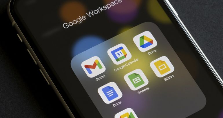 A smartphone screen open on a group of Google apps. The grouping is labelled as Google Workspace.