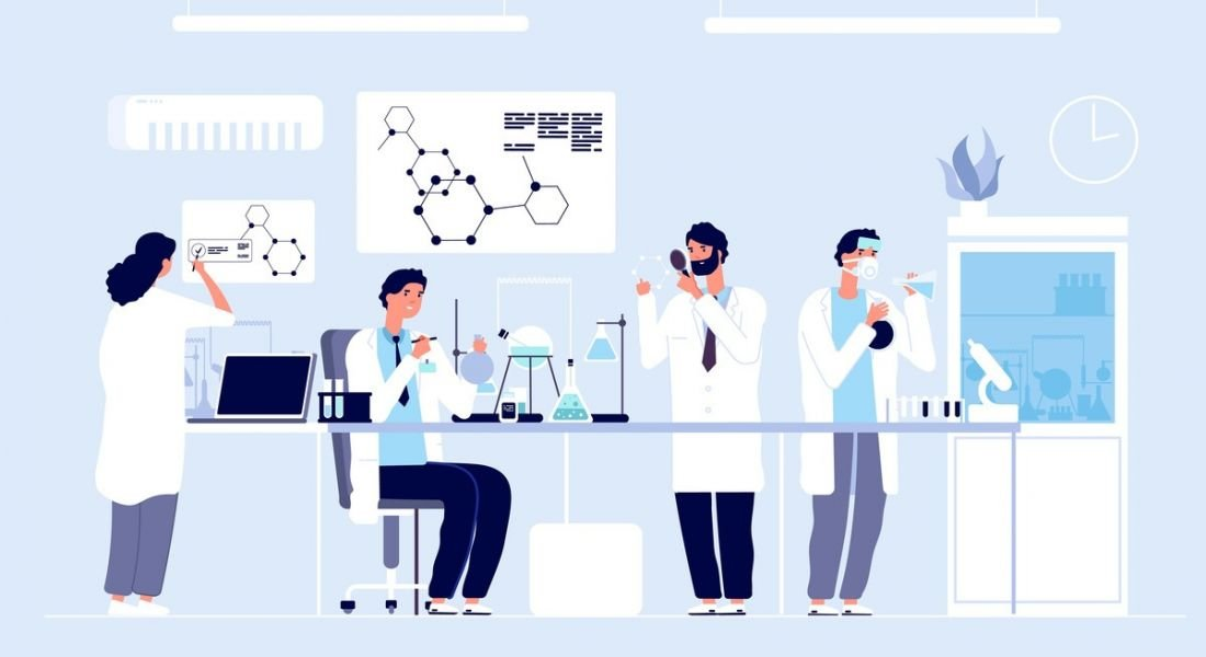 A graphic image of four scientists working in a lab surrounded by equipment.