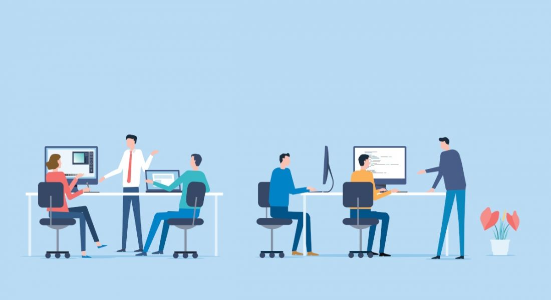 A graphic featuring six people in an office environment working at desks and chatting.