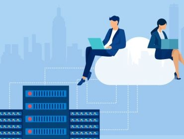 A vector image of two cloud engineers sitting on top of a cloud working on laptops that connect to several servers against a blue background.