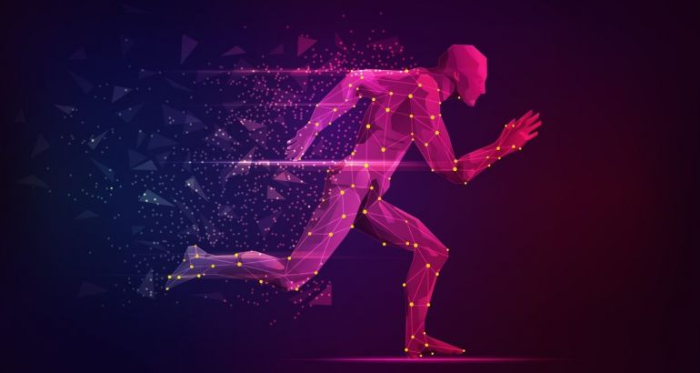 Digitised pink figure running against a maroon background.