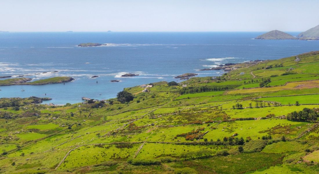 Panoramic view of the Ring of Kerry and Iveragh peninsula.
