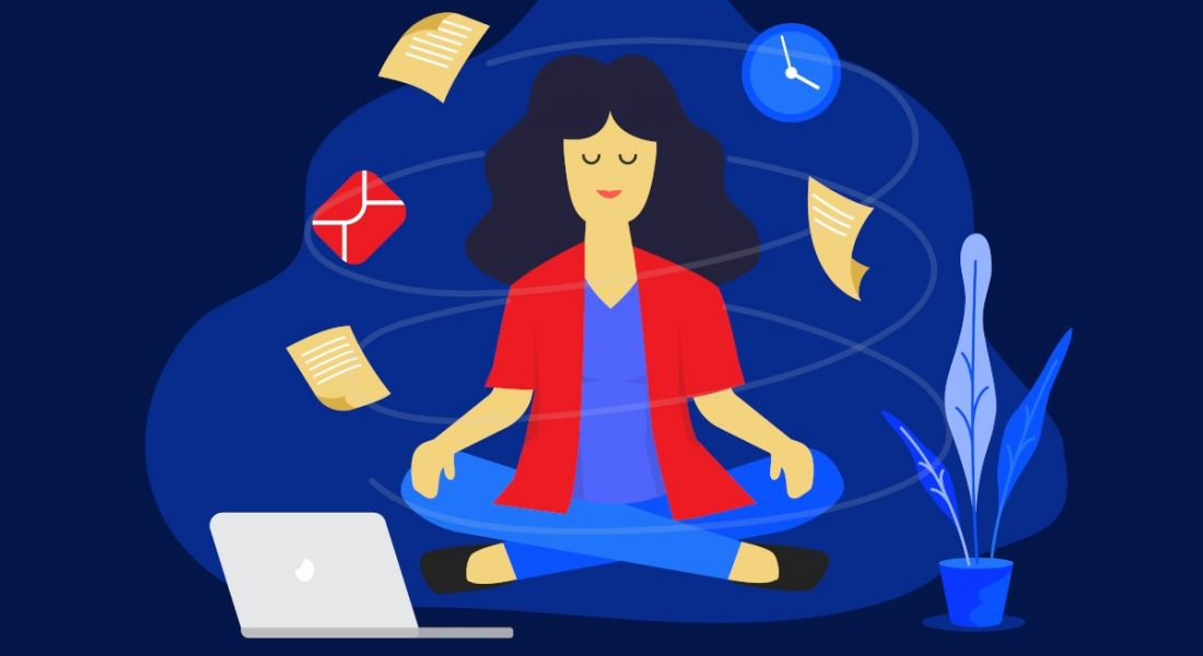 Graphic image of a woman meditating with a laptop and a plant on either side of her and cartoon icons of emails and notes orbiting around her head.