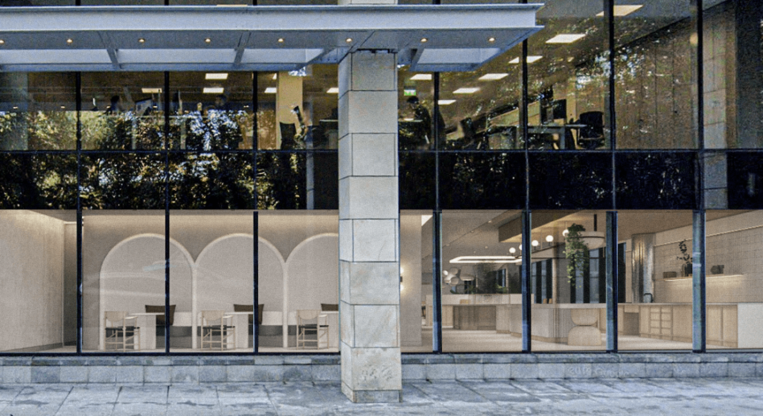 A rendered image of what the reimagined Dropbox Dublin office will look like from the outside.