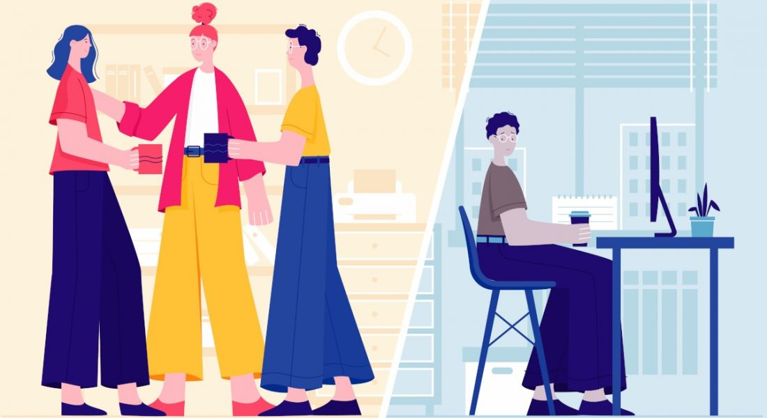 Cartoon featuring a split scenario of three people chatting together in an office environment with coffees versus a lone worker sitting at a desk in a blue room.