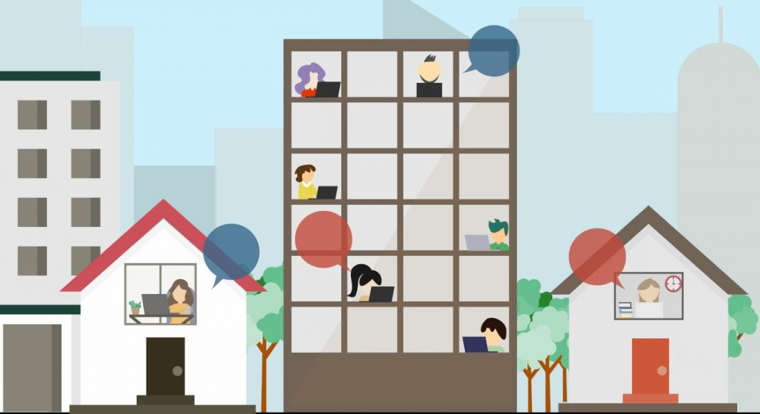 Cartoon image of a street with four buildings; one is an office block and has workers in different departments sitting at desks working, while the others are houses and have people working from home.