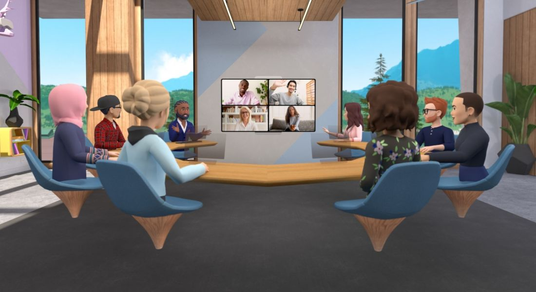 A graphic of avatars sitting around a virtual table, with a video call taking place on the screen in front of them.