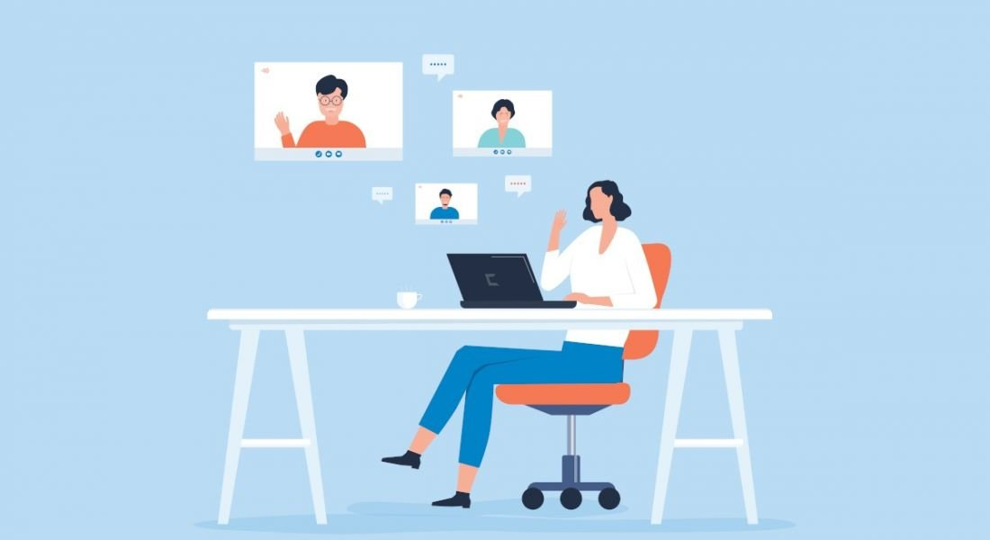 An animated image of a woman at a desk working at a laptop. Above her head, three people on screens with speech bubbles float, symbolising communication skills.