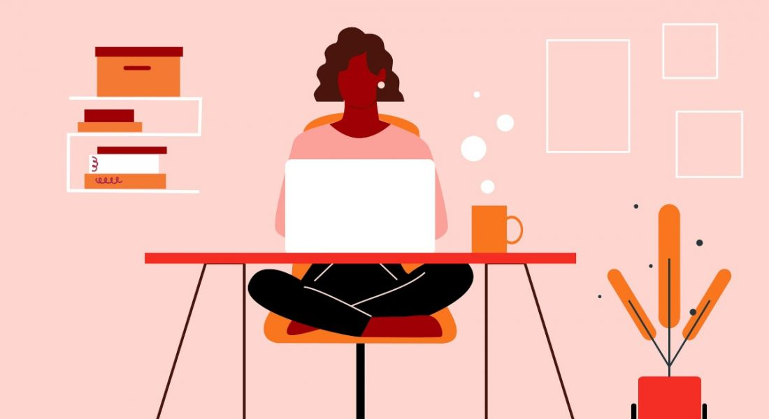 An animated graphic of a woman sitting cross-legged at a desk working from home on a laptop.