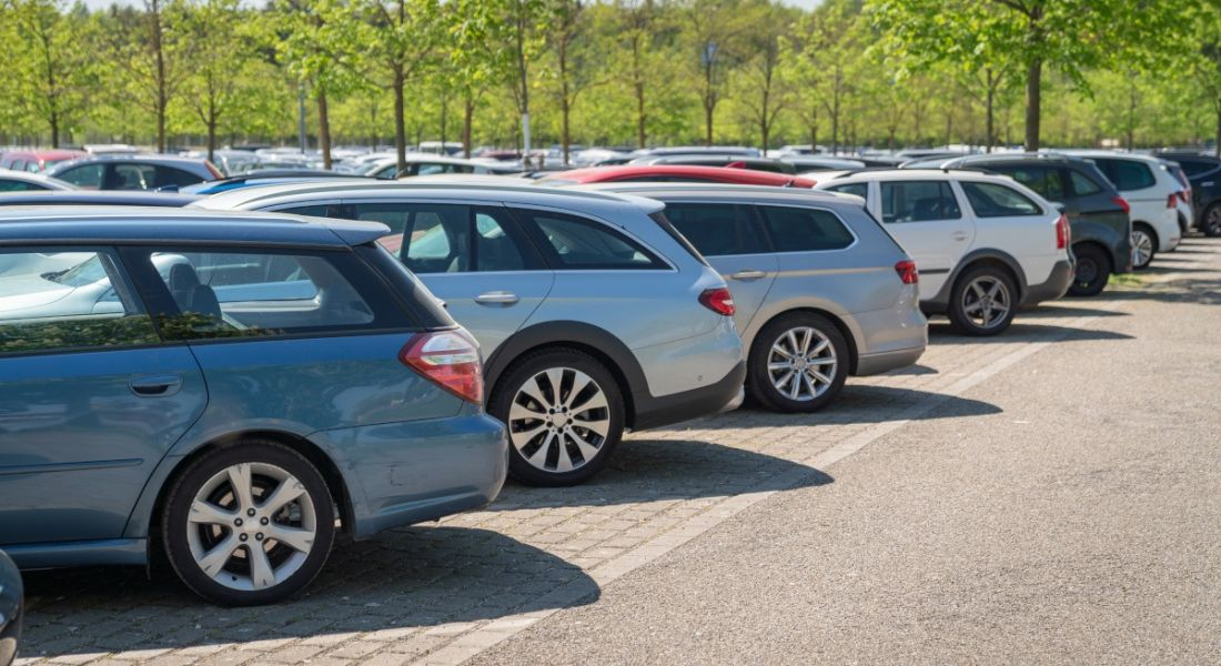 Row of cars in a carpark surrounded by green trees.