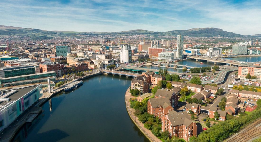 Aerial view of the city of Belfast.